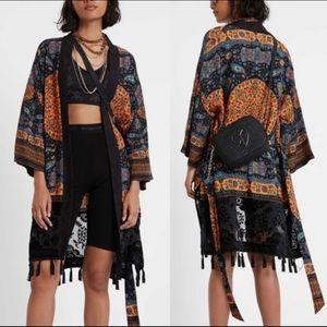 NWT Desigual Belted Tassel Kimono Duster Velvet